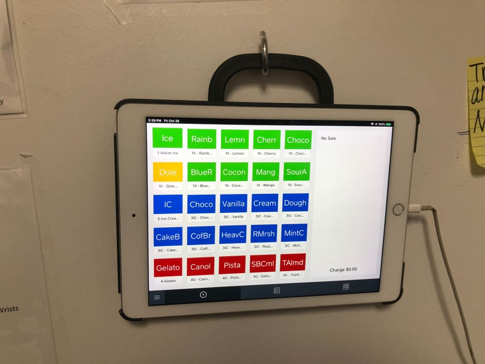 Another iPad mounted on the wall in our Work Area with a Second Location set up for Inventory of Tubs
