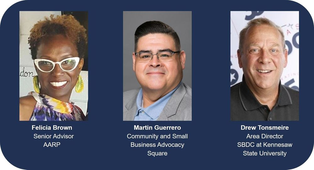 Featured speakers for the workshops with AARP, Square, and Small Business Development Center