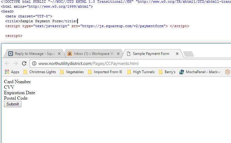 SqPaymentForm doesn't load any input fields, only     - The