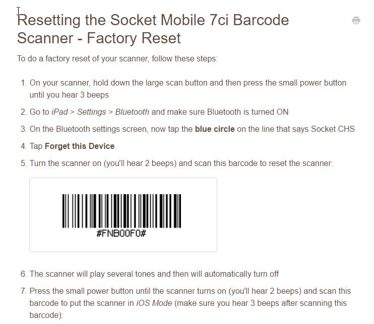 Disconnecting Bluetooth Barcode Scanner From Squar The Seller